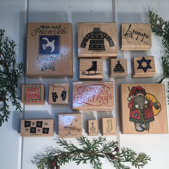 14 Holiday Wood Rubber Crafting Stamps